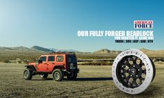 """If you're looking for a serious wheel, you should check out our all forged beadlock wheels. They're available in 17""""x9"""", 18""""x9"""", 20""""x10"""" - Every wheel is custom made to order, nothing off the rack - this guarantees a perfect fitment, everytime! Backed by a lifetime structural warranty!! American Force, made in USA"""