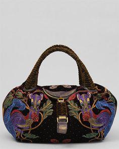 Fendi Multicolor Velvet Squirrel Embroidered Spy Bag