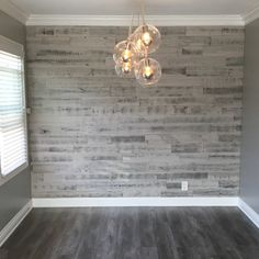 "17 Likes, 7 Comments - Erika (@_fit_mom_of_2_boys) on Instagram: ""I love my new dining room!! #stikwood #stikwoodaccentwall #reclaimedwoodgrey"""