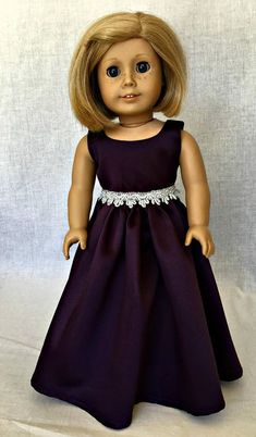 18 inch doll formal dress - 18 inch doll clothes - AG purple evening gown - fits the American Girl and similar 18 inch dolls Kits elegant, purple satin formal is the perfect dress for your doll to wear to the prom, as a bridesmaid or just to a formal event. The bodice is fully