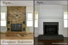 I love the contrast of the black brick.  They painted their interior doors black too so there is great continuity.  Great job by www.beneathmyheart.net!