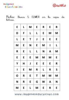 Elmer Elefante atención y grafo (9) Periodic Table, Words, Elmer The Elephants, Alphabet Soup, Gross Motor, Elephants, Storytelling, Periotic Table