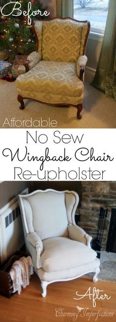 Super affordable, DIY, no sew wingback chair re-upholster tutorial. (Start this project with textiles from local botique Annex of paredown, in Ann Arbor Refurbished Furniture, Repurposed Furniture, Furniture Makeover, Painted Furniture, Reupholster Furniture, Upholstered Furniture, Furniture Projects, Diy Furniture, Furniture Chairs