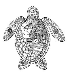 Turtle Turtle Coloring Pages, Animal Coloring Pages, Coloring Pages To Print, Coloring Book Pages, Dibujos Zentangle Art, Turtle Love, Turtle Beach, Cute Drawings, Doodle Art