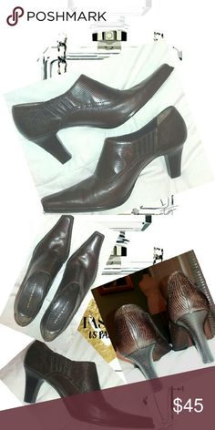 """Antonio Melani Leather Bootie Nearly-new! Dark-brown leather, Size 8.5M with 3"""" heel. Pointed-square toe with slip-guards added to the soles. ANTONIO MELANI Shoes Ankle Boots & Booties"""