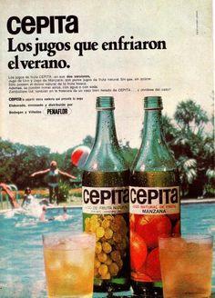 Jugos Cepita 1950s Ads, Retro Ads, Vintage Ads, Vintage Posters, Vintage Antiques, Nostalgia, Vintage Branding, Do You Remember, Hot Sauce Bottles