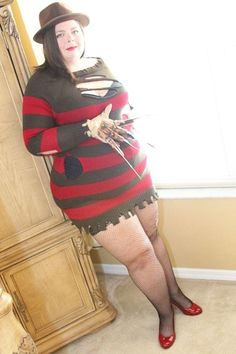 Nearly 300 pounds of me in a slutty Freddy Krueger Halloween costume and I felt dead sexy.