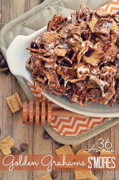 S'mores Munchie Mix Recipe – Gesunde Snacks und Snack-Mix Köstliche Desserts, Delicious Desserts, Yummy Food, Dessert Healthy, Yummy Eats, Chex Mix, Snack Recipes, Dessert Recipes, Cooking Recipes