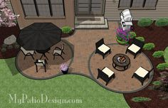 I love the idea of chairs around a fire pit/fire stand, but I think I'd prefer a square design for the patio.