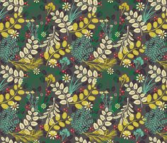 VeryCherry Herbs fabric by verycherry on Spoonflower - custom fabric ~ Number 5 in the Herb Garden Contest. Congrats Nancy!