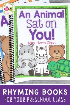 These silly rhyming books for preschoolers feature your kids' names and pictures. Your kids will beg to read these fun lift-the-flap books over and over. Share the class books during circle time or add them to your class library. Teach kids rhyming, phonological awareness, Rhyming Preschool, Zoo Phonics, Rhyming Activities, Preschool Class, Preschool Books, Language Activities, Kindergarten, Class Books, Class Library