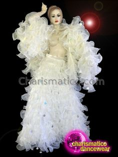 Cream Organza Ruffle Diva Jacket With Matching Floor Length Skirt Drag Queen Costumes, Drag Queen Outfits, Fringe Skirt, Dance Wear, Ruffles, Diva, Sequins, Skirts, Jackets