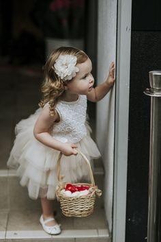 Cutest flower girl in an ivory tutu