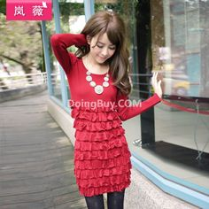 $20.002012 new autumn ladies' Puff and long sections pleated skirt cake Lan Wei knit dress