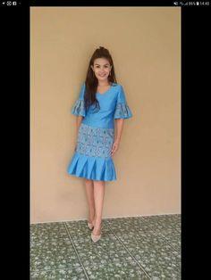 Dress Brokat, Dress Anak, Batik Dress, Saree Dress, Lace Skirt And Blouse, Dresses For Teens, Summer Dresses, Thai Fashion, Thai Dress