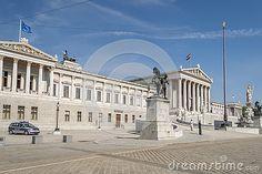 Photo about Vienna / Austria - July Austrian Parliament building front entrance. Image of heritage, architecture, empire - 76900130 Building Front, Front Entrances, Vienna Austria, Photographs, Louvre, Mansions, Architecture, House Styles, Travel