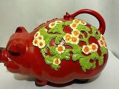 Universal Statuary Corp Pig RED Large 1976 Vintage Plastic Piggy Bank