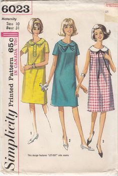 MATERNITY Dress Pattern Adjustable Side 60s Sewing by HoneymoonBus, $9.99