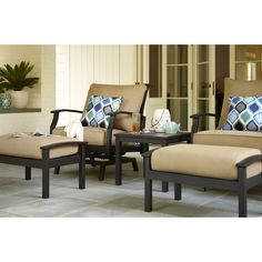 Shop Allen + Roth Carrinbridge 2 Count Black Aluminum Conversation Chair At  Lowes.com · Patio Furniture CoversOutdoor ...