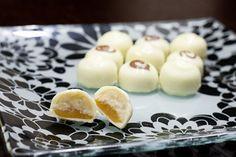 Bananas Foster Truffle Recipe (covered in white chocolate). Bottom layer caramel, top layer banana buttercream.