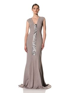 Bibhu Mohapatra Women's Sleeveless Gown with Panel (LAVENDER GREY),$2,373.00