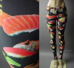 Sushi Roll Japanese Japan Novelty Digital Photo Print Women Pant 63 AC Legging L | eBay