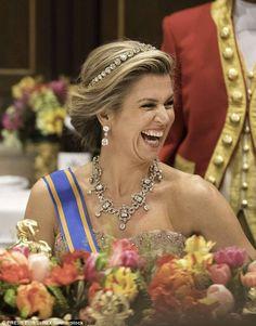 Maxima of the Netherlands wearing the Dutch Diamond Bamdeau with the Stuart necklace aka House diamonds.  (March 2017$