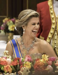 Maxima of the Netherlands wearing the Dutch Diamond Bamdeau with the Stuart necklace aka House diamonds.  (March 2017$