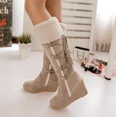 377a9a8ec111f Women's Winter Warm Wedge Hidden Heel Fur Trim Mid Calf Boots Faux Suede  Shoes #Unbranded