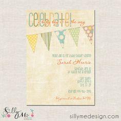 Shabby Chic Bunting - custom Baby Shower Invitation, Birth Announcement, Birthday Invitation, Wedding, Bridal Shower Invite. $15.00, via Etsy.