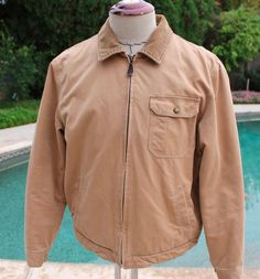 J Crew Jacket Coat size Large Full Zip Khaki Beige Bomber Flight Corduroy Collar #JCrew #FlightBomber