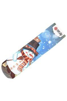 White Snowman Light Blue Ankle Socks