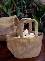 Burlap Flower Girl Basket 8x4