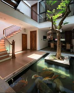 Home Deco Ideas — Modern home with tree and Koi pond via. Koi Pond Design, Courtyard Design, Patio Interior, Interior And Exterior, Fish Pond Gardens, Luxury Boat, Architect House, House Entrance, House Layouts