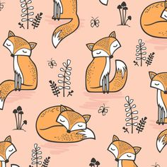 Dreamy Fox in Pale Peach fabric by caja_design on Spoonflower - custom fabric
