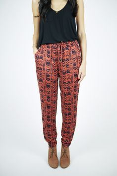 loose patterned pants.
