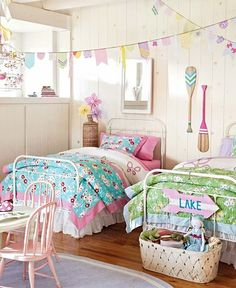 Lakehouse Bedroom | Pottery Barn Kids- totally doing this when we relate a sleeping room and play room for the girls. So cute!