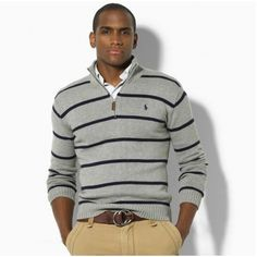 This is a great example of mixing warm and cool tones. This concrete grey \u0026amp; navy Ralph Lauren wool blend sweater looks great worn with khakis and a brown ...