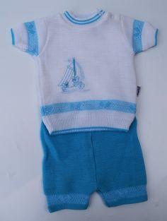 gebreid vintage 1980's pakje turqoise babysetje retro nieuw zomerbroekje en truitje jongensbaby 3 maanden reborn babypop sailor babykleding door Smufje op Etsy