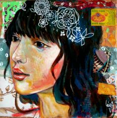 mixed media art on canvas- Leo-Vinh- 2014 oh  this girl loos like lexi ol girl