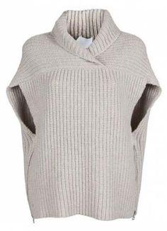 Phillip Lim Cardigans for Women Phillip Lim Shawl Vest in Beige (oatmeal) - design inspiration, looks like two rectangles. Loom Knitting, Knitting Patterns Free, Knit Patterns, Free Knitting, Phillip Lim, Cardigan Casual, Apparel Design, Knit Cardigan, Slouchy Sweater