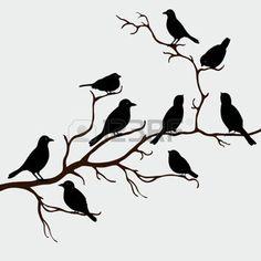 cartoon bird: Cute black birds on a branch Illustration