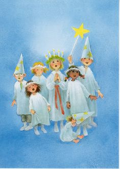 Postcard Children in Santa Lucia Costumes With Star Swedish Christmas, Scandinavian Christmas, Christmas Art, Christmas And New Year, Winter Christmas, All Things Christmas, Beautiful Christmas Scenes, Christmas Pictures, Vintage Illustration