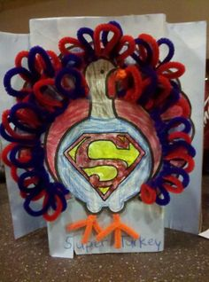 Kindergarten Turkey in Disguise Ideas - Superman turkey