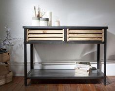 Console 2 tiroirs métal effet usé et bois Harlem