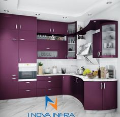 Kitchen designs modern kitchen by i nova infra modern Purple Kitchen Designs, Purple Kitchen Decor, Simple Kitchen Design, Kitchen Cupboard Designs, Kitchen Room Design, Interior Design Kitchen, Home Design, Kitchen Storage, Kitchen Ideas