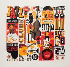 "Jazzgrafía is the first illustration of the second part of the ""Mesh project's ramifications"" which is base.Jazzgrafía Jazzgrafía is the first illustration of the second part of the ""Mesh project's ramifications"" which is base. Art And Illustration, Illustrations Posters, Retro Kunst, Retro Art, Jazz Poster, Jazz Art, Wow Art, Arte Popular, Art Graphique"