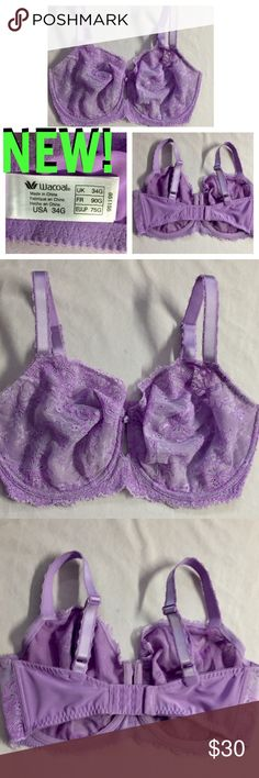 NWT! WACOAL LAVENDER LACE UNDERWIRE➖34DDDD Absolutely stunning new Wacoal lavender lace covered bra! Has 3-sets of hooks in the back w/3 areas to adjust the tightness-see pic #4. Wider strap w/eyelet edges, & rose w/bow between cups-see pic #5. Has eyelet detailing around entire band-see pic #6-#7. A gorgeous bra! Wacoal Intimates & Sleepwear Bras
