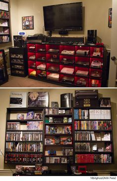 100 Fantastic Video Game Room Design to Enhance Your Skill Nerd Room, Gamer Room, Nerd Cave, Sala Nerd, Video Game Storage, Video Game Organization, Video Game Shelf, Dvd Storage, Gaming Room Setup