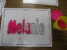 Love this for name practice at the beginning of the year. Making our names and friends names in play-doh. Click for more great name related ideas!